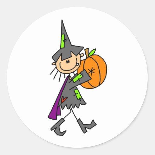 Bruja de Halloween con la calabaza Pegatina Redonda