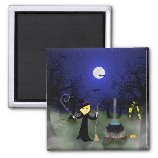 Bruja de Halloween con la caldera Imán Cuadrado