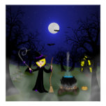 Bruja de Halloween con la caldera Posters