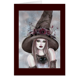 Bruja de Halloween con la tarjeta del gatito de Re