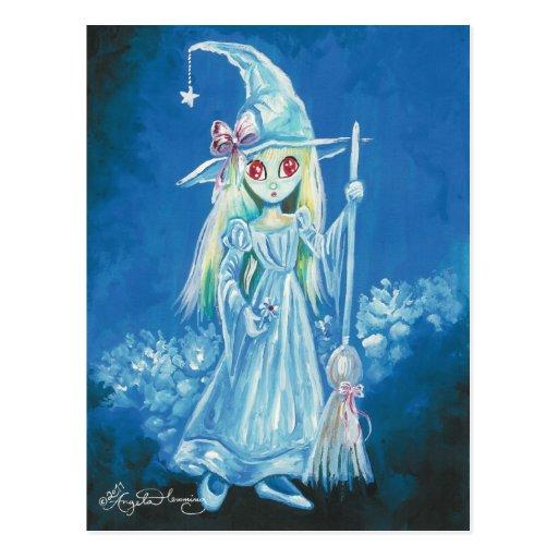Bruja de Halloween con los ojos rojos grandes Tarjeta Postal