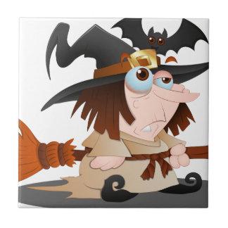 Bruja de Halloween del dibujo animado Azulejo Cuadrado Pequeño