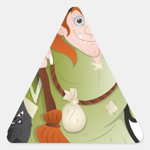Bruja de Halloween del dibujo animado con un gato Pegatina Triangular