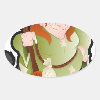 Bruja de Halloween del dibujo animado con un gato Pegatina Ovalada
