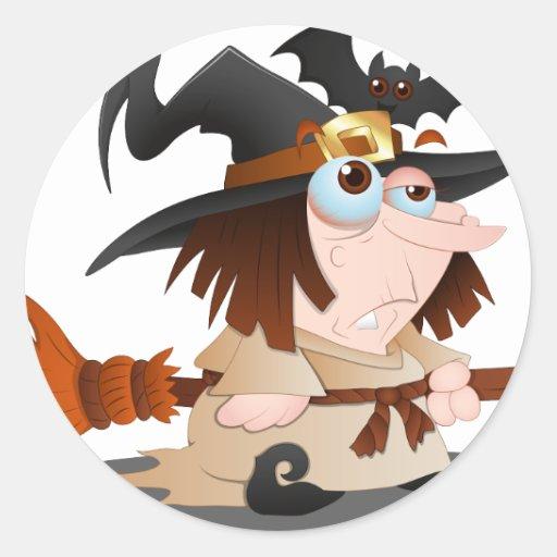 Bruja de Halloween del dibujo animado Etiqueta Redonda