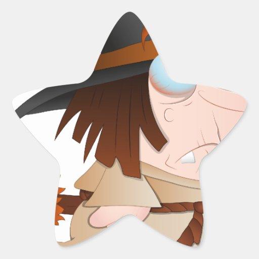 Bruja de Halloween del dibujo animado Calcomanía Forma De Estrella Personalizada