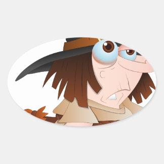 Bruja de Halloween del dibujo animado Pegatina Ovalada