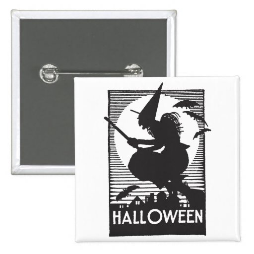 Bruja de Halloween del grabar en madera Pin Cuadrada 5 Cm