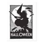 Bruja de Halloween del grabar en madera Tarjetas Postales