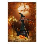 Bruja de Halloween del otoño Felicitaciones