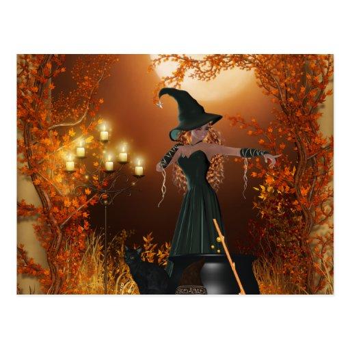 Bruja de Halloween del otoño Tarjetas Postales