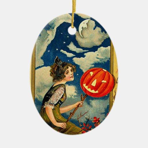 Bruja de Halloween del vintage Adorno Navideño Ovalado De Cerámica