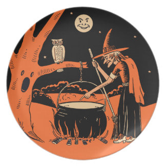 Bruja de Halloween del vintage con la caldera Plato Para Fiesta