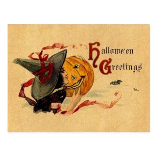Bruja de Halloween del vintage con las cintas Tarjeta Postal