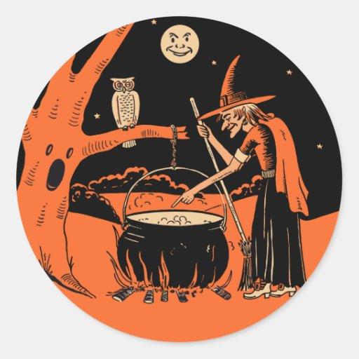 Bruja de Halloween del vintage con los pegatinas Pegatinas Redondas