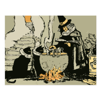 Bruja de Halloween del vintage, gatos negros mágic Tarjeta Postal
