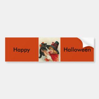 Bruja de Halloween del vintage pequeña que Pegatina Para Auto
