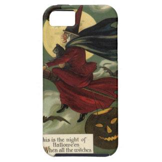 Bruja de Halloween del vintage que monta una iPhone 5 Fundas