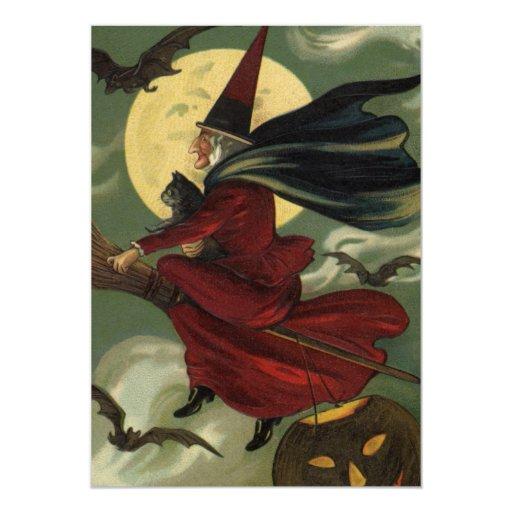 """Bruja de Halloween del vintage que monta una Invitación 5"""" X 7"""""""