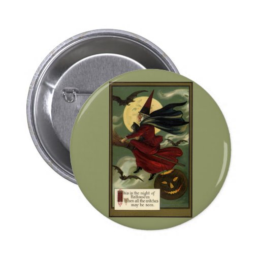 Bruja de Halloween del vintage que monta una Pin Redondo De 2 Pulgadas