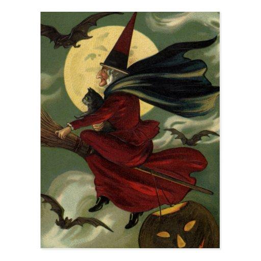 Bruja de Halloween del vintage que monta una Tarjetas Postales