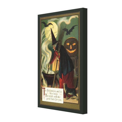 Bruja de Halloween del vintage que revuelve la cal Lona Envuelta Para Galerías