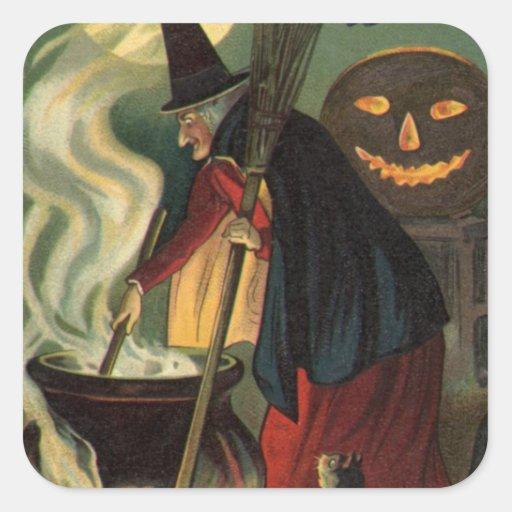 Bruja de Halloween del vintage que revuelve la Pegatina Cuadrada