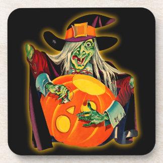 Bruja de Halloween del vintage que talla Jack O'La Posavasos De Bebidas