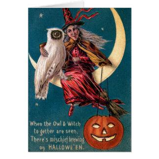 Bruja de Halloween del vintage Tarjeta De Felicitación