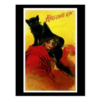 Bruja de Halloween del vintage Tarjetas Postales