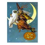 Bruja de Halloween del vintage Tarjeta Postal