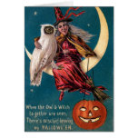 Bruja de Halloween del vintage Tarjetas