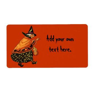 Bruja de Halloween del vintage vieja Etiqueta De Envío