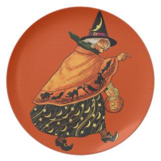 Bruja de Halloween del vintage vieja Plato De Comida