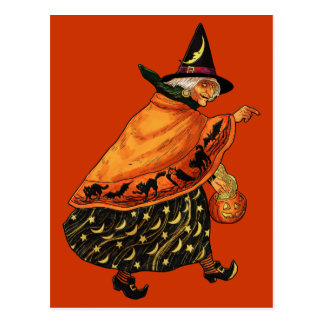 Bruja de Halloween del vintage vieja Postales