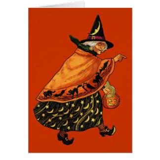 Bruja de Halloween del vintage vieja Tarjeta De Felicitación