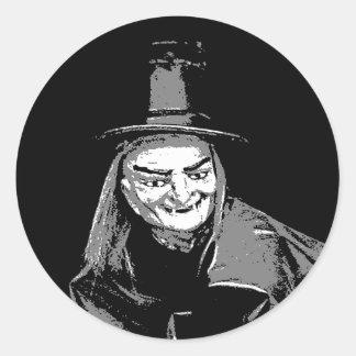 Bruja de Halloween en etiqueta fea del nombre del