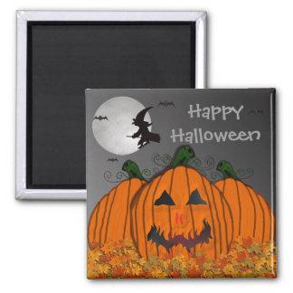 Bruja de Halloween en vuelo Imán Cuadrado