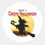 Bruja de Halloween Etiquetas Redondas