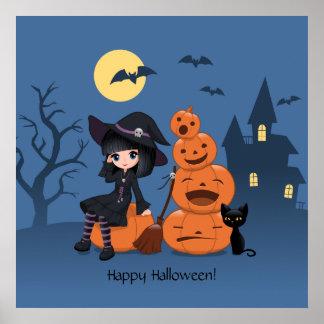 Bruja de Halloween gato negro y calabazas Poster