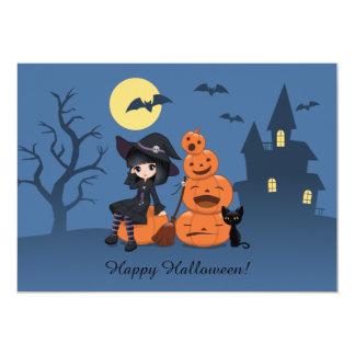 Bruja de Halloween, gato negro, y fiesta de las Invitación 12,7 X 17,8 Cm