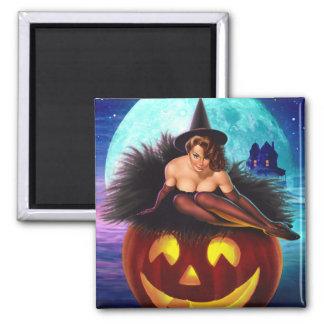 """Bruja de Halloween "" Imán Cuadrado"