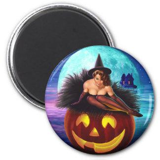 """Bruja de Halloween "" Imán Redondo 5 Cm"