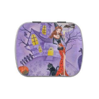 Bruja de Halloween - lata del caramelo de Belly™ Jarrones De Dulces