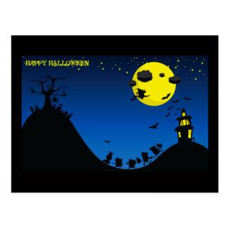 Bruja de Halloween, palos, casa/ Postal
