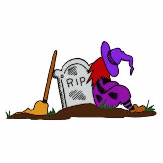 Bruja de Halloween por la piedra sepulcral Esculturas Fotográficas