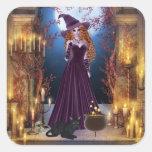 Bruja de Halloween por luz de una vela Pegatina Cuadrada