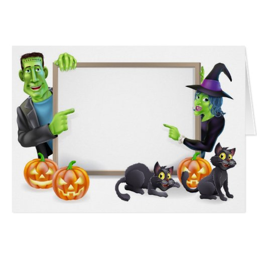 Bruja de Halloween y bandera de Frankenstein Tarjeta De Felicitación
