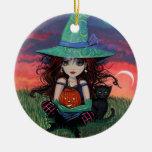 Bruja de Halloween y ornamento del gato Ornamente De Reyes
