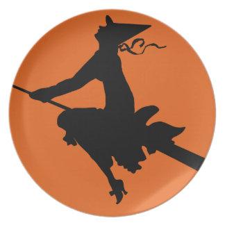 Bruja de Halloween y placa de la luna Plato De Comida